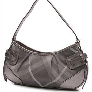 Burberry Silver Black Plaid Leather Shoulder Bag